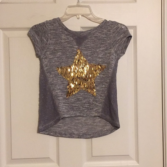 total girl Other - Girls Sweater - Gray With Gold Sequin Star